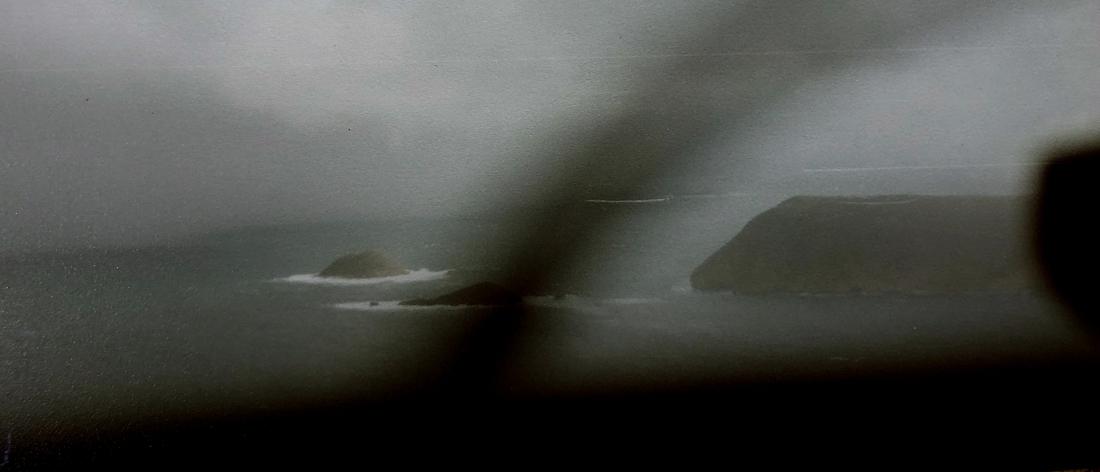 Approaching Wedge Island in rain