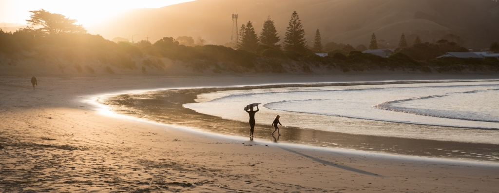 Surfers at Sunset at Mothers' Beach Apollo Bay