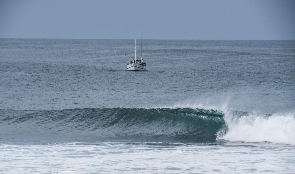 Cray boat near shorebreak