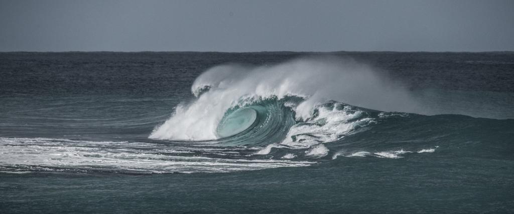 Breaking wave on Little Henty Reef, with barrel