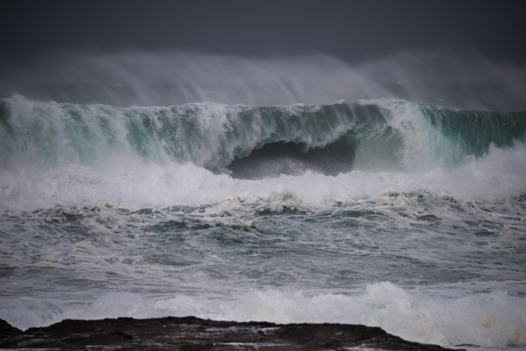 Big wave breaking at Hayley Point