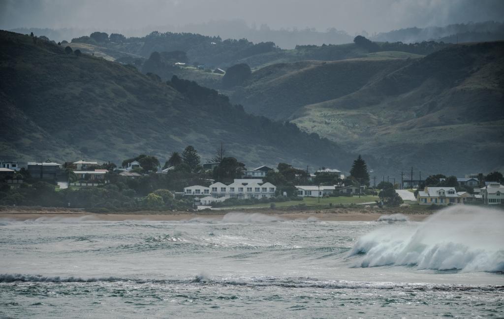 Surf breaking in Mounts Bay