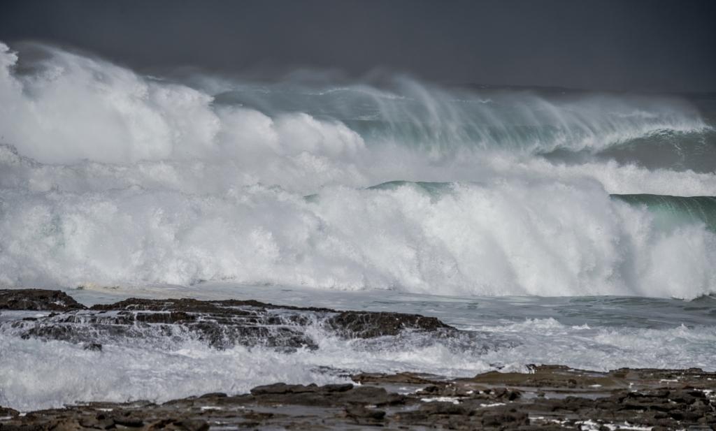 Very big surf breaking near Hayley Point, Marengo.