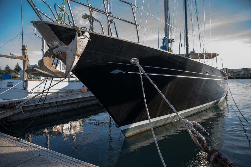 Sleek yacht in Apollo Bay harbour