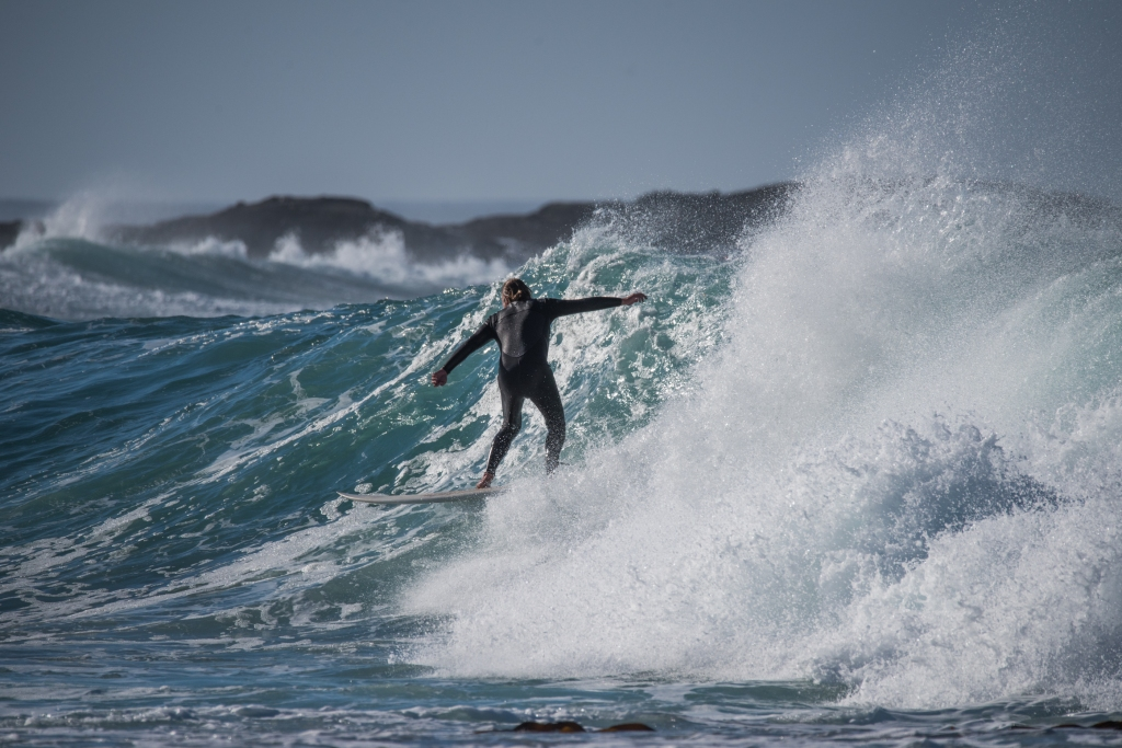 Surfer in the pass between Little Henty Reef and Hayley Point