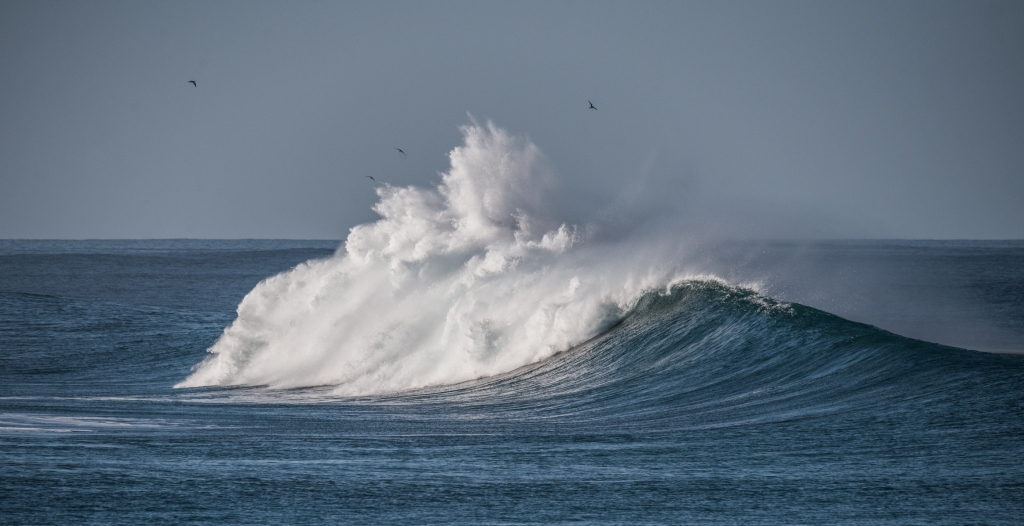 Waves breaking at Little Henty Reef