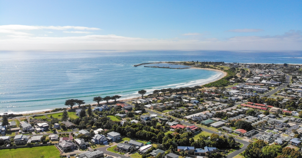 Aerial view of Apollo Bay