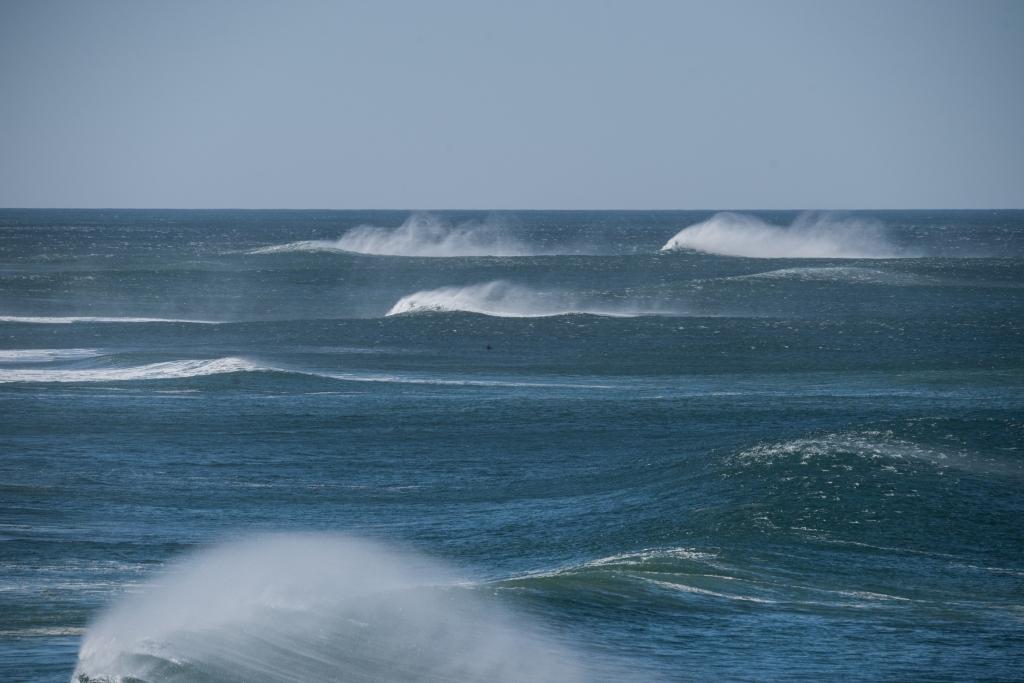 Lone surfer in big waves