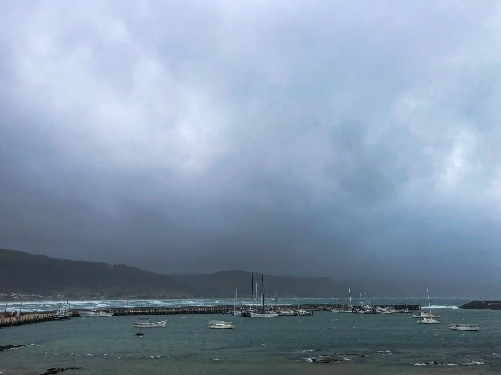 Storm over harbour at Apollo Bay