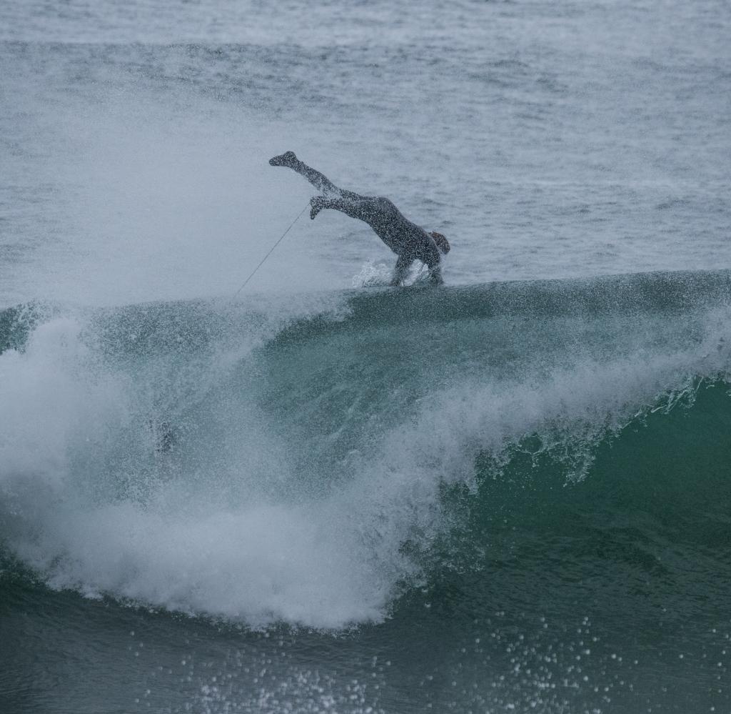 Surfer airborne