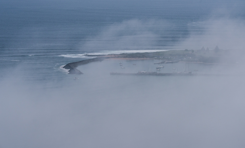 Harbour through clouds from Marriners Lookout