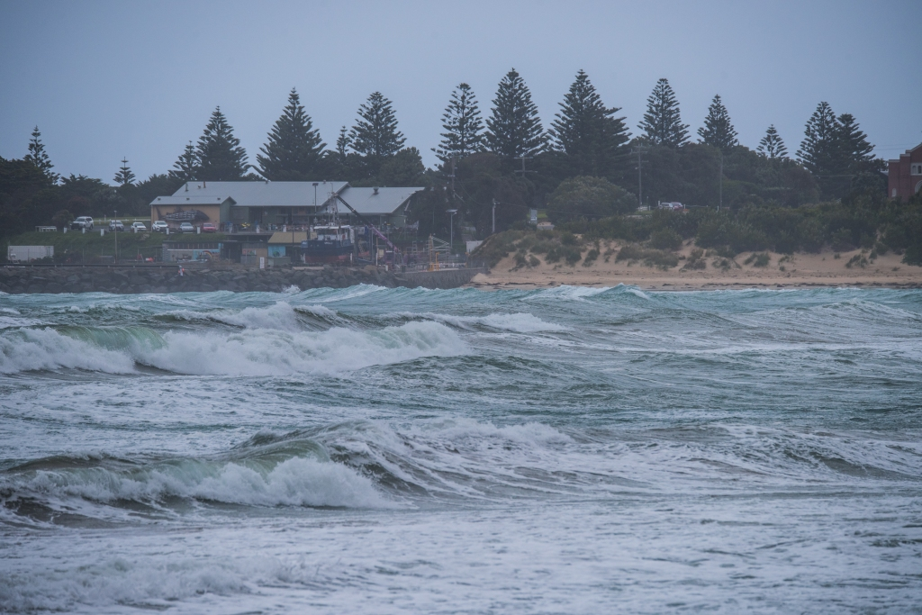 Easterly seas near the fishermen's coop