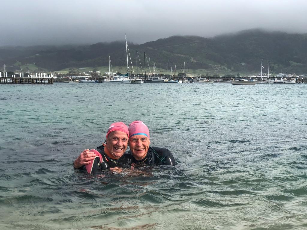 Apollo Bay ocean swimmers in harbour
