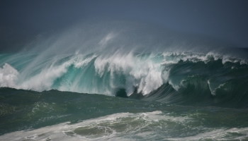 Large wave breaking on reef Apollo Bay