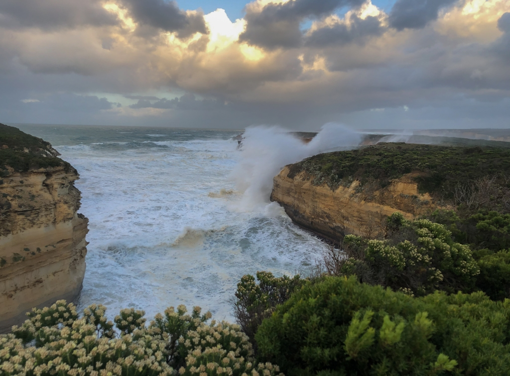 Huge surf breaking on cliffs near Pt Campbell and Twelve Apostles