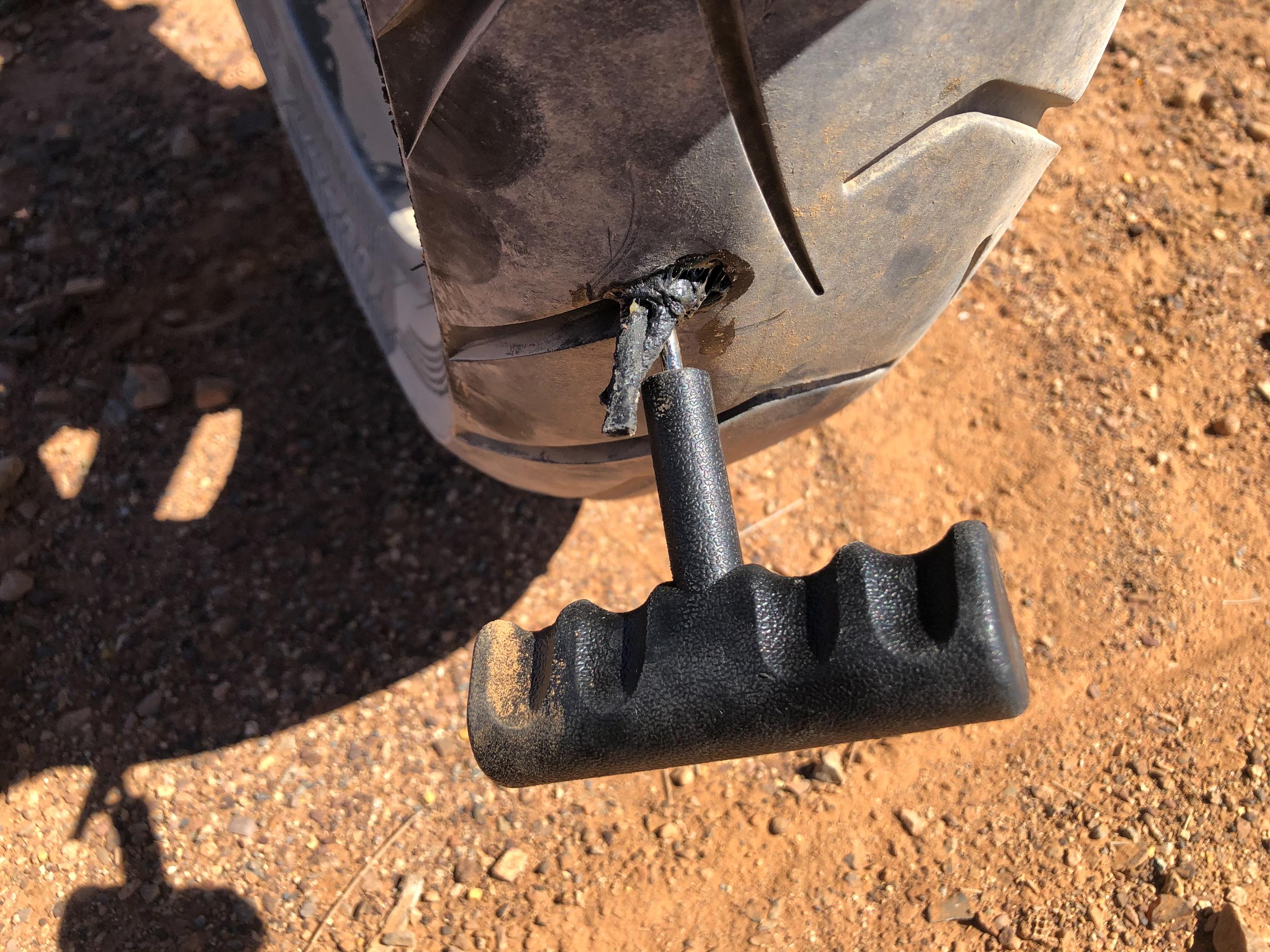 BMW R1200GS puncture Flinders Ranges