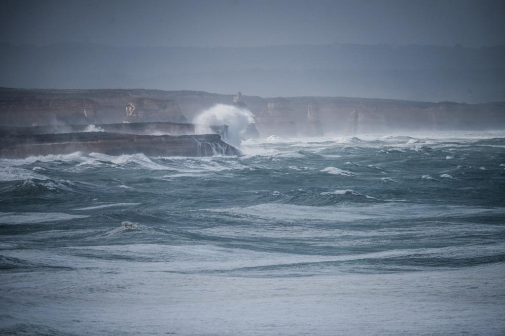 Twelve Apostles in storm surf