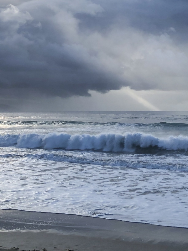 Storm clouds over ocean at Apollo Bay