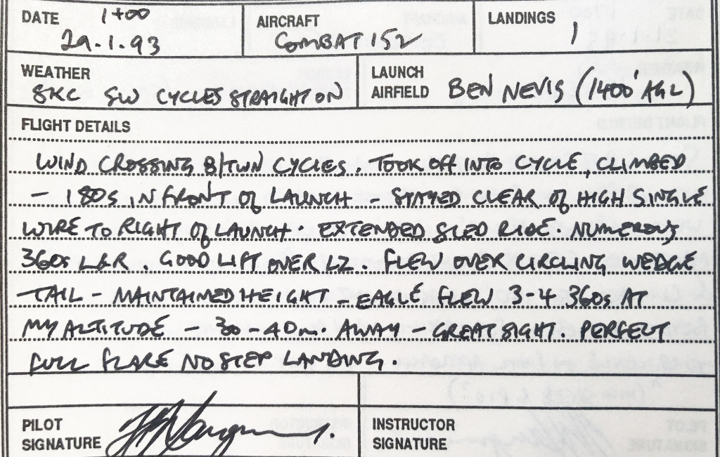 Hang gliding log book extract about flying with eagle.