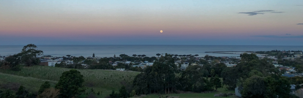 Apollo Bay township, Bass Strait and full moon rising
