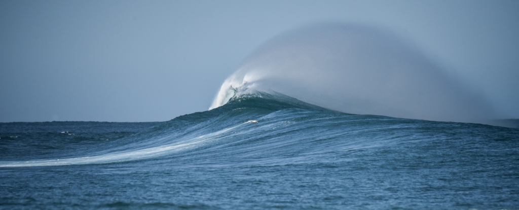 White spray blowing over the back of a large line of swell on Little Henty Reef