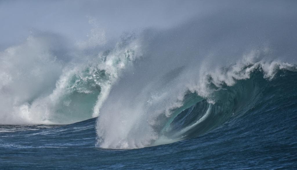 Barrels on a breaking wave