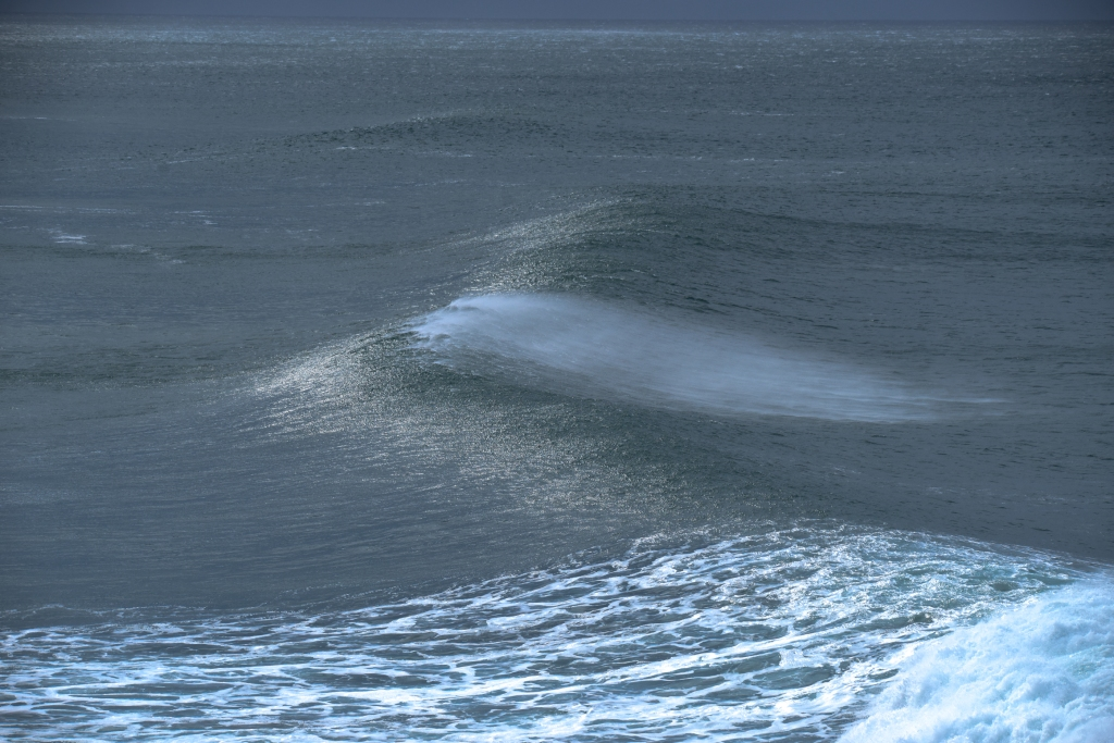 Breaking wave in strong winds near shore