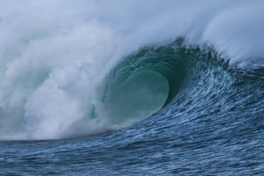 Close up of barrel on breaking wave