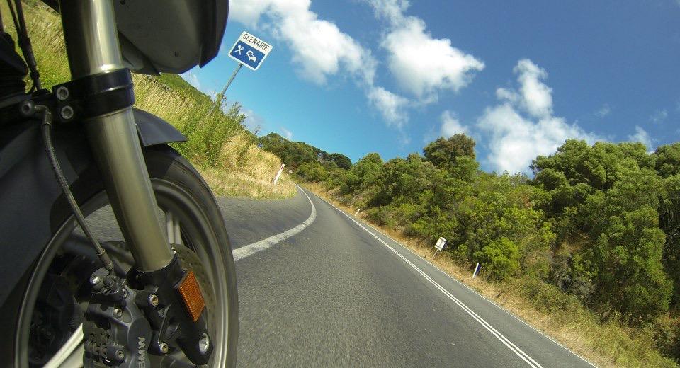Motorbike cornering on the Great Ocean Road