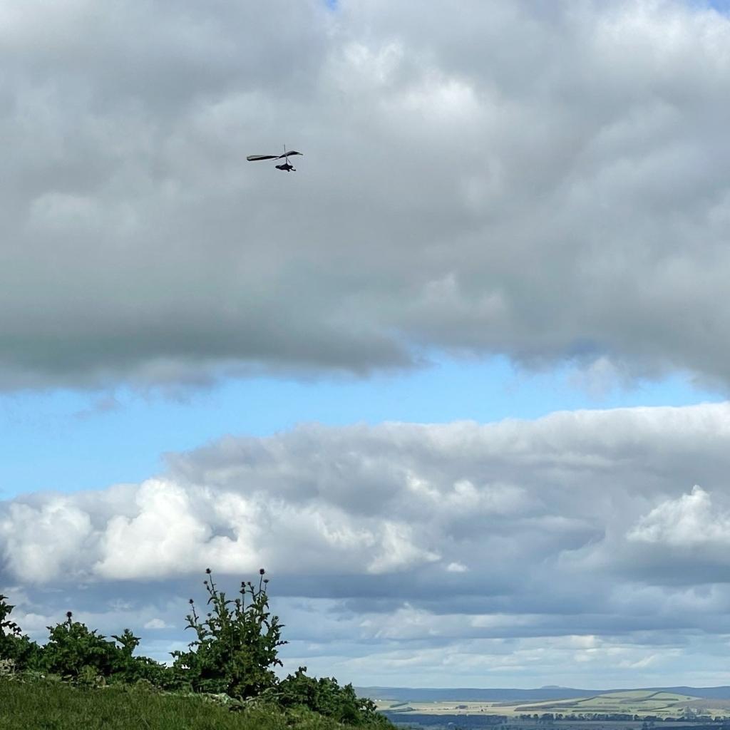 Airborne Fun 190 hang glider soaring near clouds above Mt Black Gordon