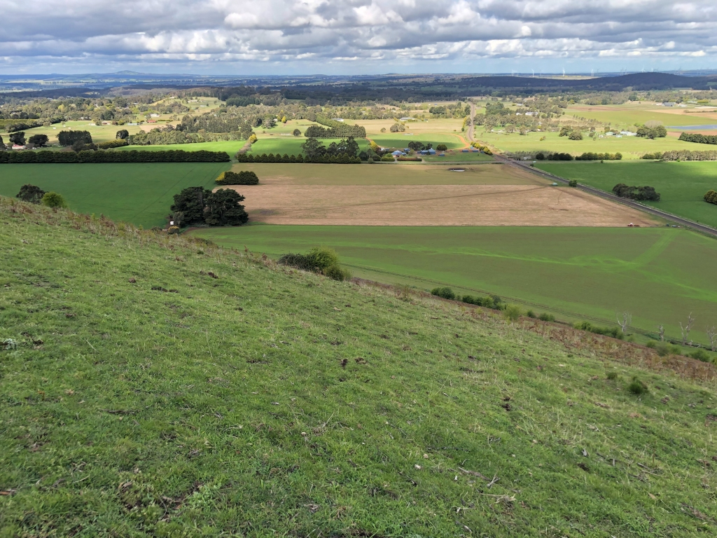 View of landing paddock from Gordon hang gliding launch site
